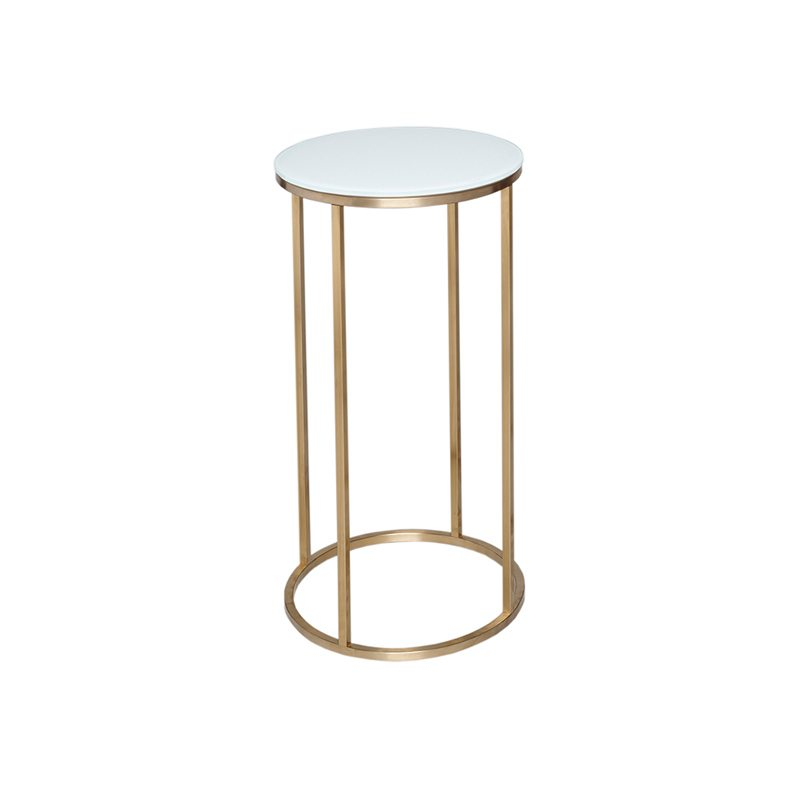 Ambrette White Round Side Table With Gold Open Base