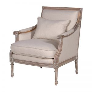 Massima Cream Upholstered Armchair With A Back Pillow