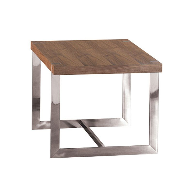 Tancredo Cube Side Table with Chrome Legs and Wood Top