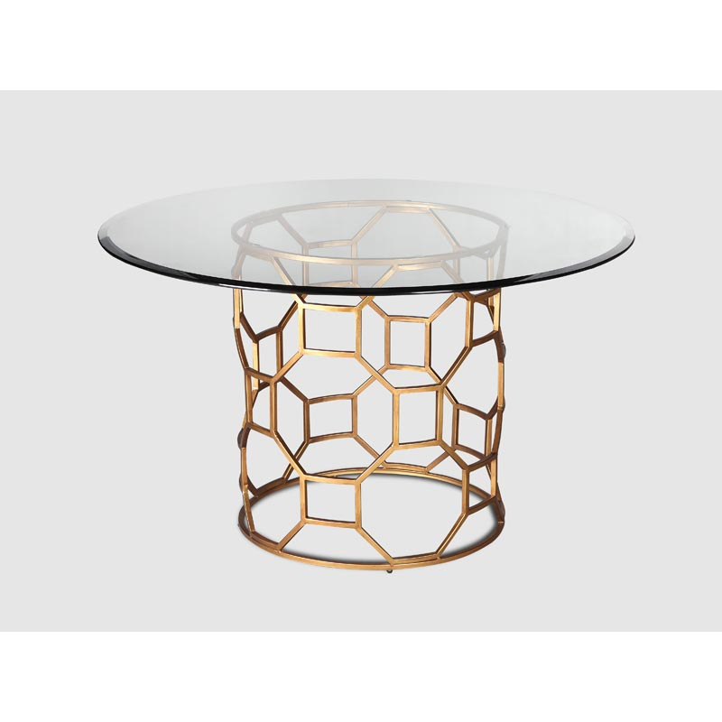 Brompton Glass Dining Table Gold Finish Casa Uniqua - gold dining table