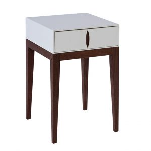 Ellan Matt White Walnut Side Table