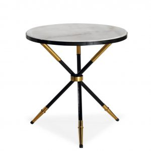 Round Black Gold Side Table