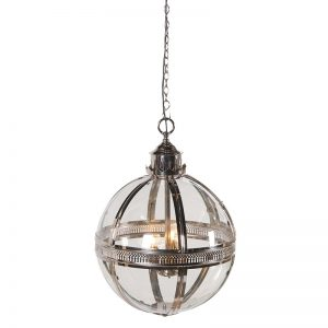 Glass Silver Globe Light