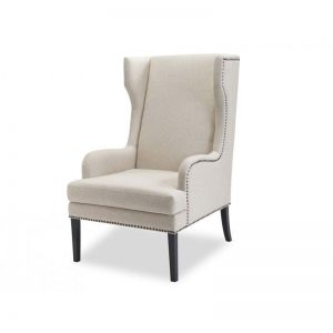 Harrow Beige Linen Chair Bronze Studs