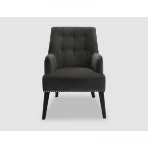 Pimlico Slate Velvet Buttoned Chair Chrome Studs